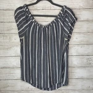 Maurices gray & white striped off the shoulder top